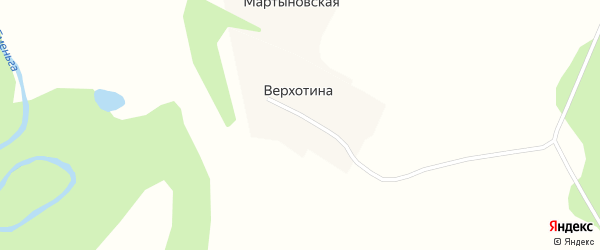 Центральная улица на карте деревни Верхотиы с номерами домов