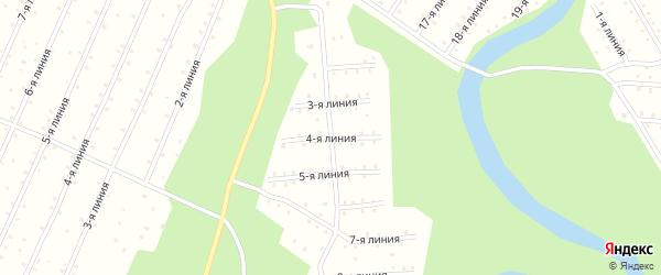 Улица 4-я Линия на карте населенного пункта СНТ Радуги с номерами домов