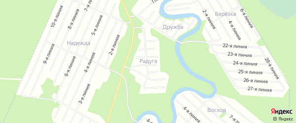Карта населенного пункта СНТ Радуги города Новодвинска в Архангельской области с улицами и номерами домов