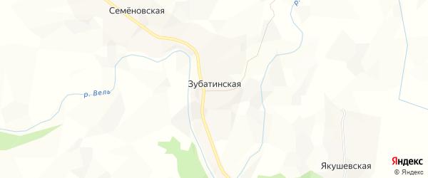 Карта Зубатинской деревни в Архангельской области с улицами и номерами домов