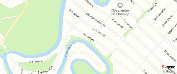 Улица 1-я Линия на карте населенного пункта СНТ Северная Двина с номерами домов