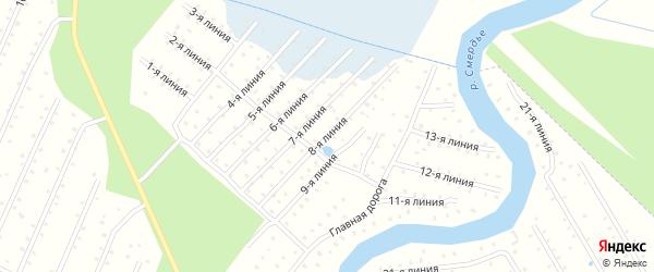 Улица 8-я Линия на карте населенного пункта СТ Дружбы с номерами домов