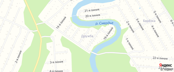 Улица 19-я Линия на карте населенного пункта СТ Дружбы с номерами домов