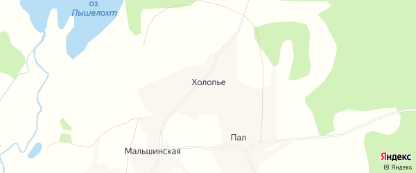 Карта деревни Холопьего в Архангельской области с улицами и номерами домов