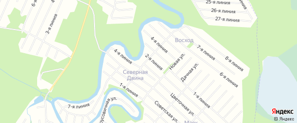 Карта населенного пункта СНТ Северная Двина города Новодвинска в Архангельской области с улицами и номерами домов