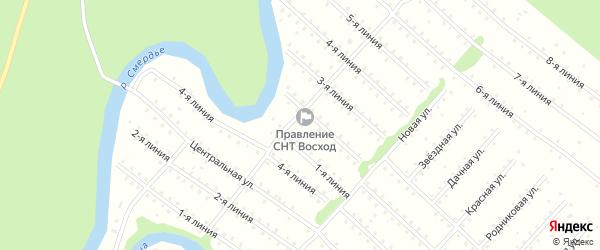 Улица 4-я Линия на карте населенного пункта СНТ Северная Двина с номерами домов