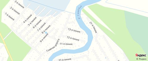 Улица 13-я Линия на карте населенного пункта СТ Дружбы с номерами домов