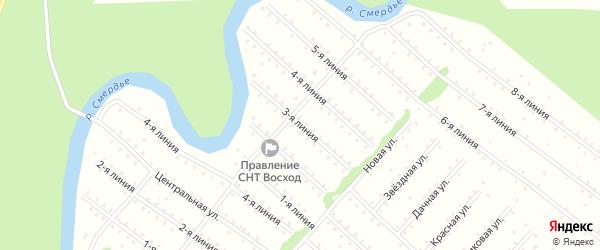 Улица 3-я Линия на карте населенного пункта СНТ Восхода с номерами домов