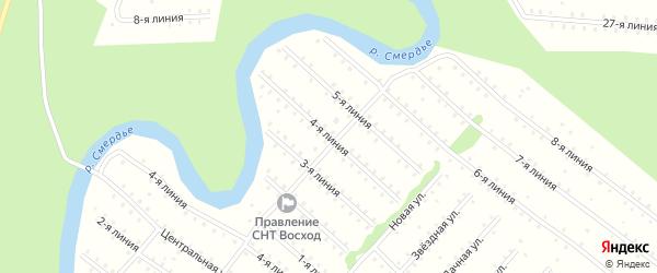 Улица 4-я Линия на карте населенного пункта СНТ Восхода с номерами домов