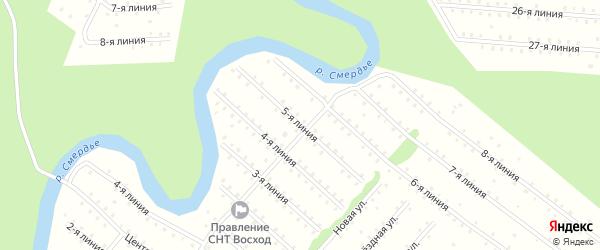Улица 5-я Линия на карте населенного пункта СНТ Восхода с номерами домов