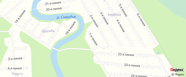 Улица 1-я Линия улица на карте населенного пункта СНТ Березки с номерами домов