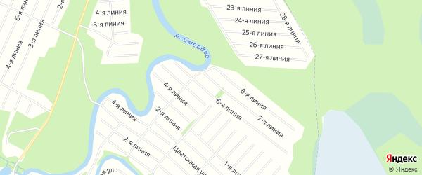 Карта населенного пункта СНТ Восхода города Новодвинска в Архангельской области с улицами и номерами домов