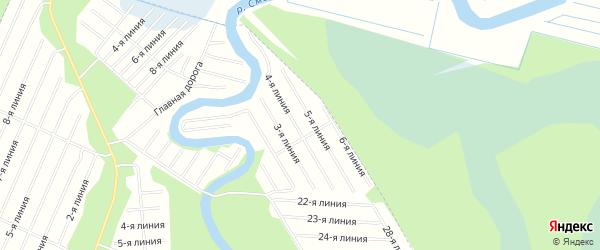 Карта населенного пункта СНТ Березки города Новодвинска в Архангельской области с улицами и номерами домов