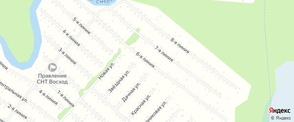 Улица 6-я Линия на карте населенного пункта СНТ Восхода с номерами домов