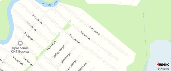 Улица 7-я Линия на карте населенного пункта СНТ Восхода с номерами домов