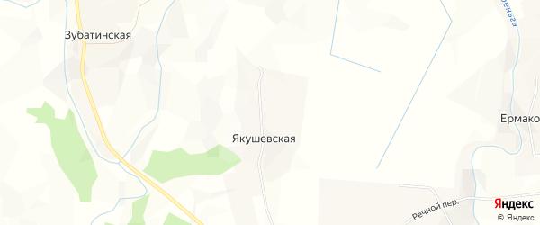 Карта Якушевской деревни в Архангельской области с улицами и номерами домов