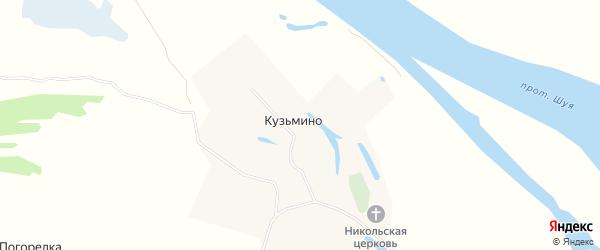 Карта деревни Кузьмино в Архангельской области с улицами и номерами домов