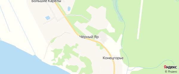 Карта деревни Черного Яр в Архангельской области с улицами и номерами домов