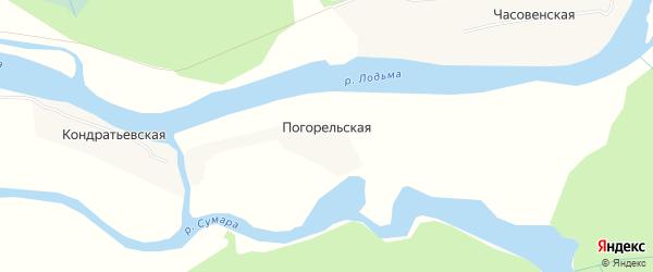 Карта Погорельской деревни в Архангельской области с улицами и номерами домов