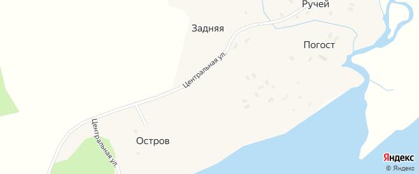 Центральная улица на карте Задней деревни с номерами домов