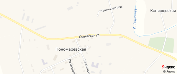 Советская улица на карте Пономаревской деревни с номерами домов