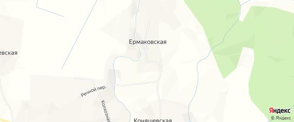 Карта Ермаковской деревни в Архангельской области с улицами и номерами домов