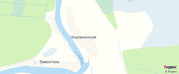 Карта Коровкинской деревни в Архангельской области с улицами и номерами домов