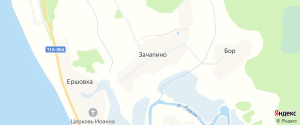 Карта деревни Зачапино в Архангельской области с улицами и номерами домов