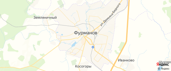 Карта Фурманова с районами, улицами и номерами домов