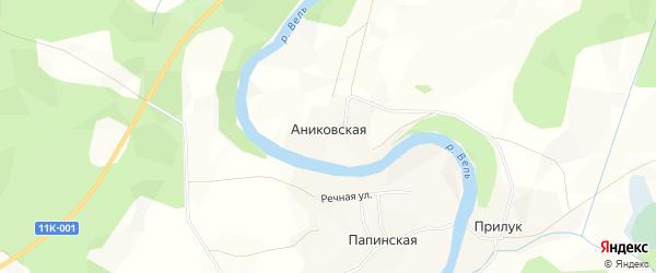 Карта Аниковской деревни в Архангельской области с улицами и номерами домов