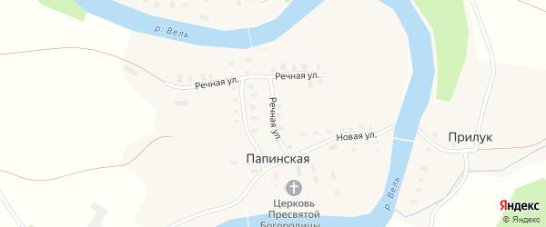 Речная улица на карте Папинской деревни с номерами домов
