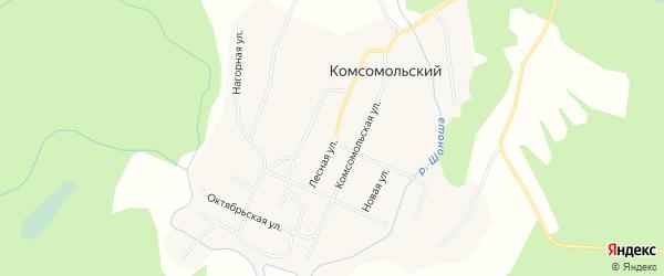 Карта Комсомольского поселка в Архангельской области с улицами и номерами домов
