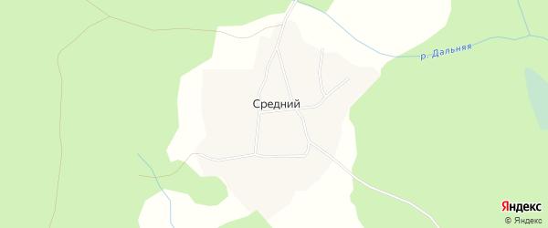 Карта Среднего поселка в Архангельской области с улицами и номерами домов