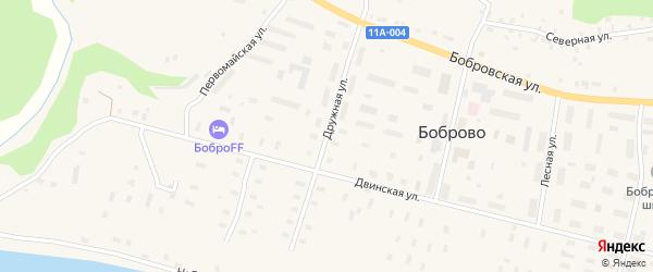 Дружная улица на карте поселка Боброво с номерами домов