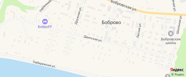Двинская улица на карте поселка Боброво с номерами домов