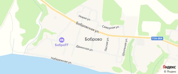 Карта поселка Боброво в Архангельской области с улицами и номерами домов