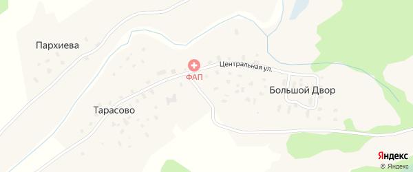 Центральная улица на карте деревни Большой Двор (Воезеро) с номерами домов