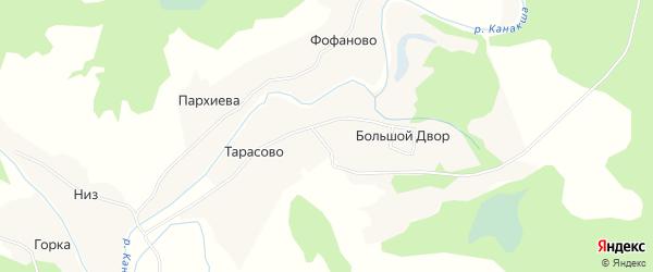 Карта деревни Большой Двор (Моша) в Архангельской области с улицами и номерами домов
