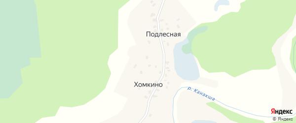 Центральная улица на карте Подлесной деревни с номерами домов