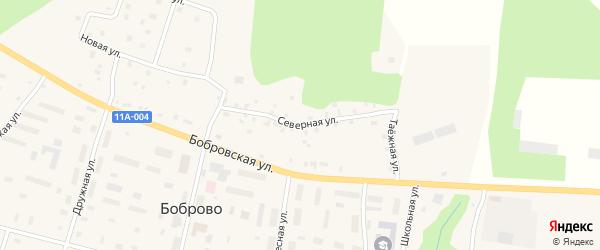 Северная улица на карте поселка Боброво с номерами домов