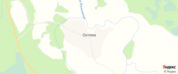 Карта деревни Охтомы в Архангельской области с улицами и номерами домов