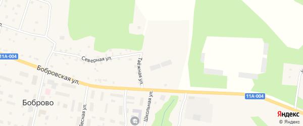 Таежная улица на карте поселка Боброво с номерами домов