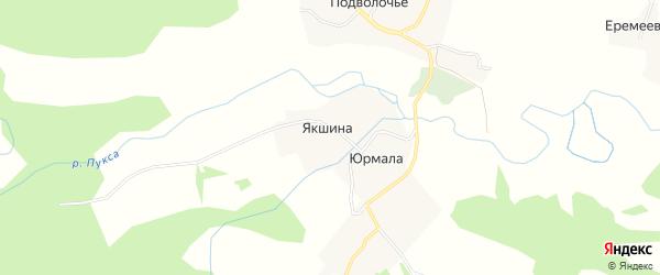 Карта деревни Якшиной в Архангельской области с улицами и номерами домов