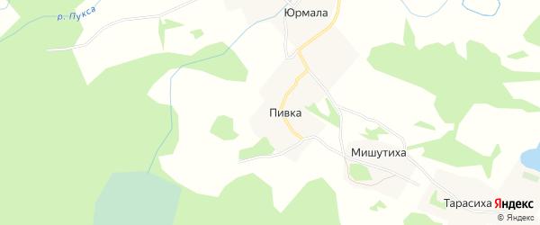 Карта деревни Пивка в Архангельской области с улицами и номерами домов
