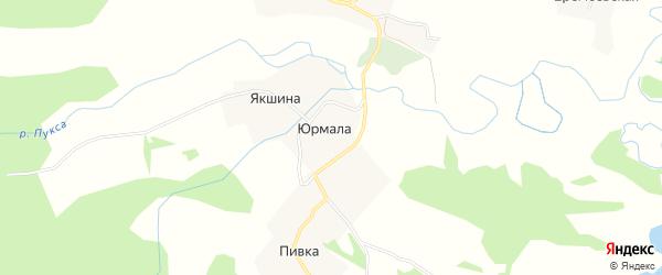 Карта деревни Юрмалы в Архангельской области с улицами и номерами домов