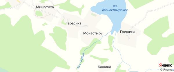 Карта деревни Монастыря в Архангельской области с улицами и номерами домов