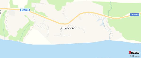 Карта деревни Боброво в Архангельской области с улицами и номерами домов