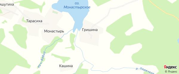 Карта деревни Гришиной в Архангельской области с улицами и номерами домов