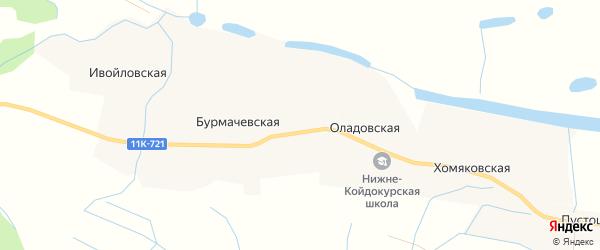 Карта Бурмачевской деревни в Архангельской области с улицами и номерами домов