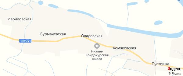 Карта Оладовской деревни в Архангельской области с улицами и номерами домов